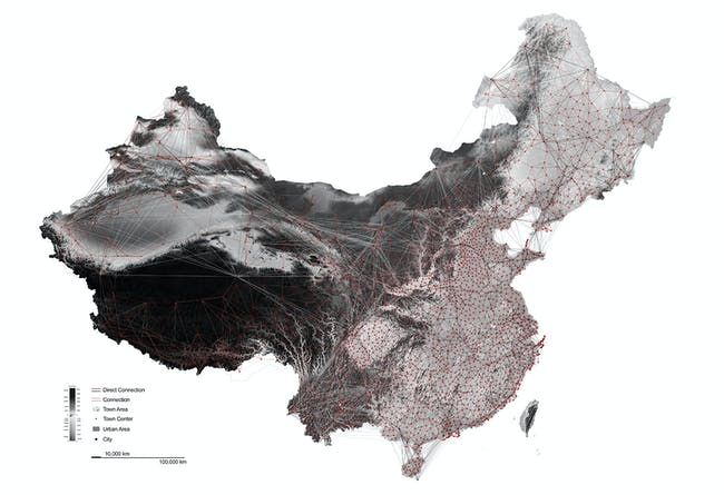 China urban network, with topography. Image credit and courtesy of Dingliang Yang.