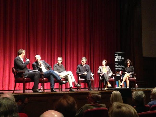 Panelists (right to left) Carolina Miranda, Sharon Johnston, Mark Lee, critic Greg Goldin, and Alan Hess.
