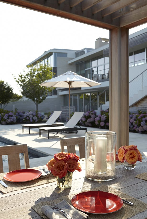 Patio dining area, poolside