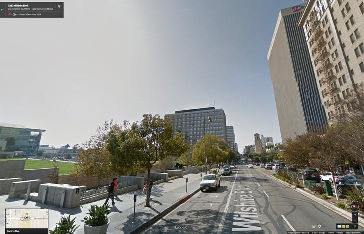 Google Street View of location for 'Ambassador Hotel (3400 Wilshire Blvd)'. The featured address is on the south side of Wilshire Blvd, pictured on the left.