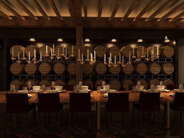 Specialty brews aging in oak barrels provides a backdrop for special events