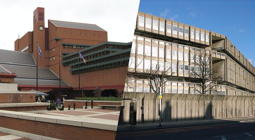 One gets listed, one has to be forgotten: the British Library (left) recently received Grade I protection, while the brutalist Robin Hood Gardens estate failed to get listed and is to be demolished. (Photos via Wikipedia)