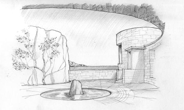 concept sketch for house on top of a rock in the ocean.