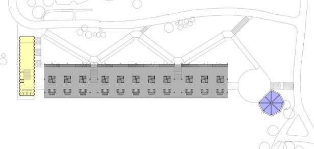 Plan: yellow - Memorial Service Space, grey - Mausoleum, blue - chapel