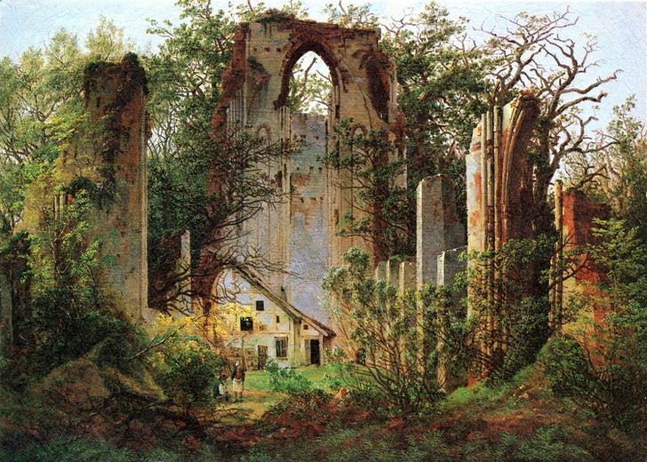 'Ruins of Eldena near Greifswald' by Caspar David Friedrich, 1825, depicting the same site as the previous image.