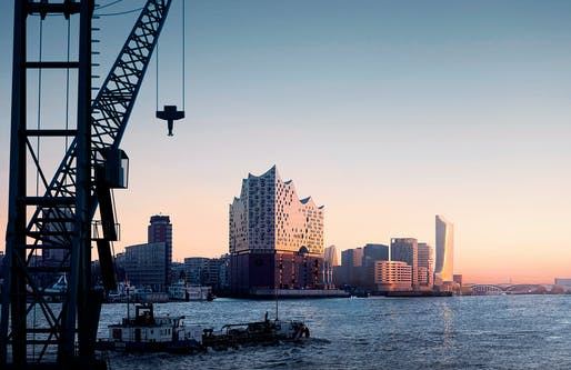 The Elbphilharmonie on Hafencity's western edge with the Elbtower on the eastern tip in the background. Image: David Chipperfield Architects
