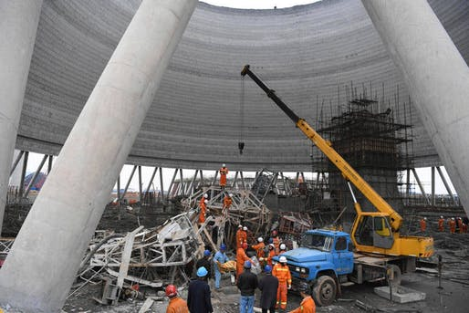 In this photo released by Xinhua News Agency, rescue workers look for survivors after a work platform collapsed at the Fengcheng power plant in eastern China's Jiangxi Province, Thursday, Nov. 24, 2016. State media reported dozens were killed after the scaffolding tumbled down. (Wan Xiang/Xinhua...