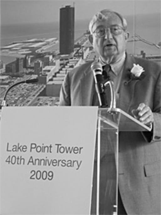 George Schipporeit, who designed Lake Point Tower together with John Heinrich, speaks at the building's 40th Anniversary Celebration in 2009. Photo credit: Lake Point Tower flickr
