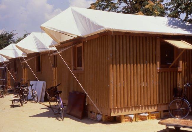 Paper Log House, 1995, Kobe, Japan. Photo by Takanobu Sakuma