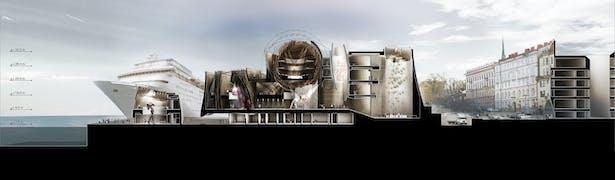 DPAW Guggenheim Helsinki - Cross Section