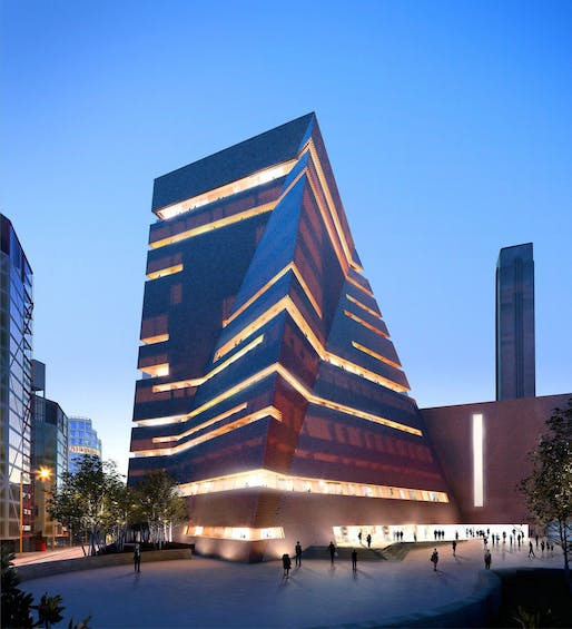 "The ""Switch House"" extension of the Tate Modern by Herzog and de Meuron. Image credit: Hayes Davidson and Herzog & de Meuron via the Guardian"