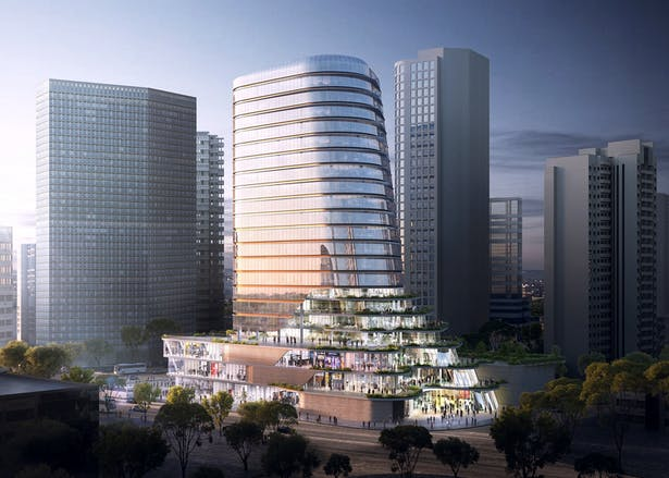Gemdale Changshou Road, Shanghai, China, designed by Andrew Bromberg at Aedas (Image Credit: AsymmetricA)