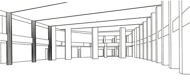 Commons Interior, looking toward main entry.