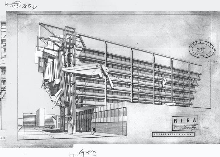 Sarajevo, from War and Architecture, 1993. Proposal for the reconstruction of the Electrical Management Building. Courtesy of Estate of Lebbeus Woods