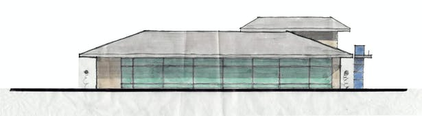 Hand Sketch of Proposed Street (East Building) Elevation