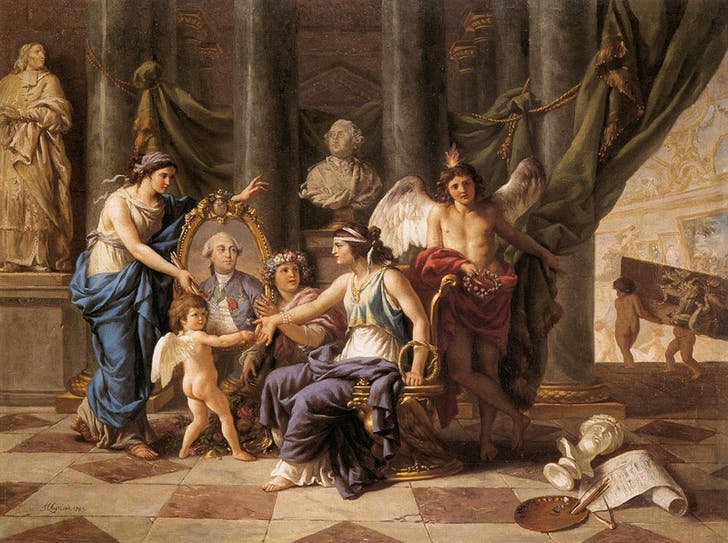 Allégorie relative à l'établissement du Museum dans la grande galerie du Louvre (1783) by Jean-Jacques Lagrenée was painting ten years before the Louvre's 'revolutionary founding' and is an allegory for its conversion into a museum by the then-extant monarchy.