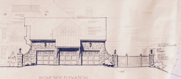 SKETCH OF STONE GARAGE FACE/WALL