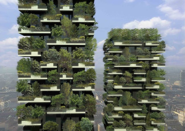 Boeri Studio's Vertical Forest in Milan consists of two residential towers that are 'made' of various trees and plants. Photo: Architect Boeri Studio