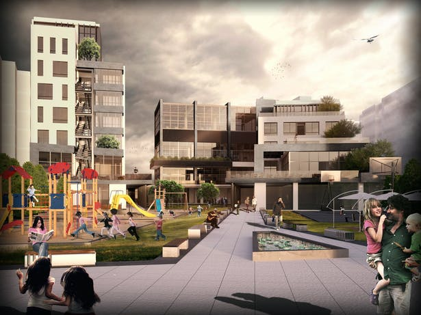 View from the residential street into the park side of the project