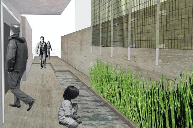 subterranean passage connecting house to landscape
