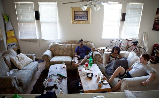The downturn in the real estate market in Merced, Calif., has allowed students to rent spacious homes in overbuilt areas.