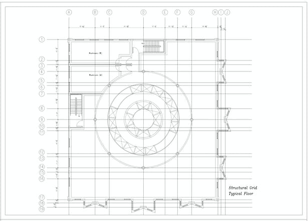 Structural Grid Typical Floor Plan