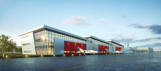 Hangar / Ding Shu General Airport, Yixing Dushu, China / Cordogan Clark & Associates with Hanson