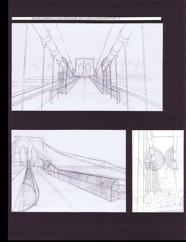 Cable enclosures at pedestrian walkway, Sketches