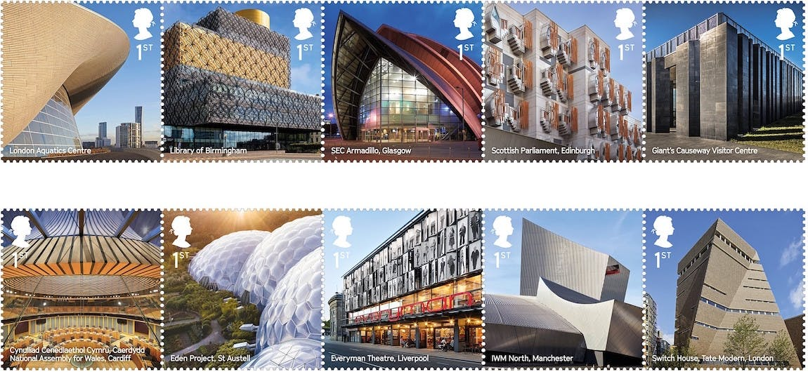 Modern Architecture News uk's royal mail issues 10 stamps featuring iconic modern