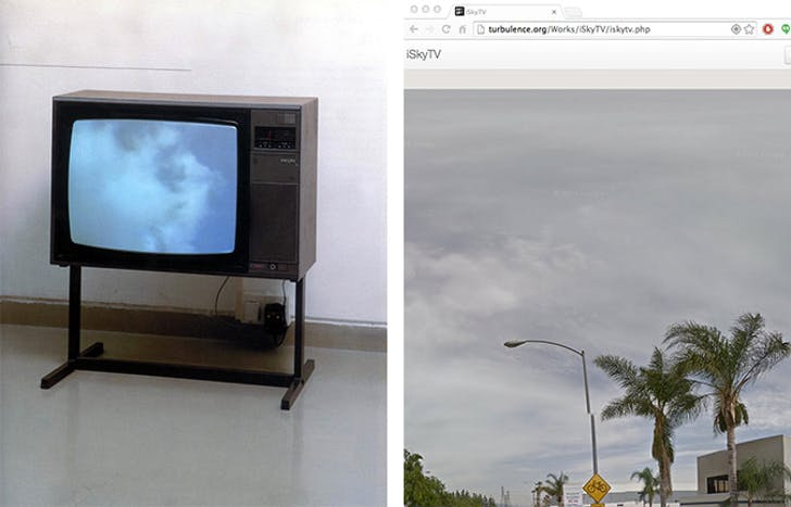 Installation shot of Yoko Ono's 'SkyTV' (1966) / iSkyTV on the author's browser. Credit: iSkyTV