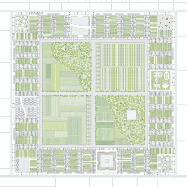 Ground Plan: The Outer Frame consists of Industrial program and Infrustructure; The Middle Frame contains 550 single family units and the neighborhood gardens; The Inner Frame houses 270 collective units along with 4 six-story towers brings the total number of housing units in the project to 1,000.
