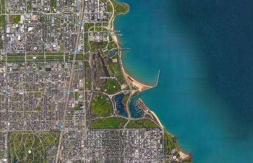 An aerial view of Jackson Park, the future site of the Obama Presidential Center. Image via google maps