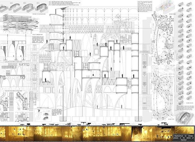 Honorable Mention: Neighborhood for Chinese citizens in the district of Chamberí; Autor: Adrián Úbeda Beltrán; University: University Politecnica de Madrid. Escuela Tecnica Superior de Arquitectura de Madrid; Country: Spain