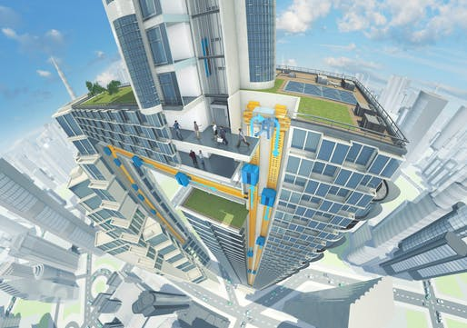 """ThyssenKrupp's MULTI consists of various cabs per shaft and enables vertical and horizontal movement."" Image copyright ThyssenKrupp."