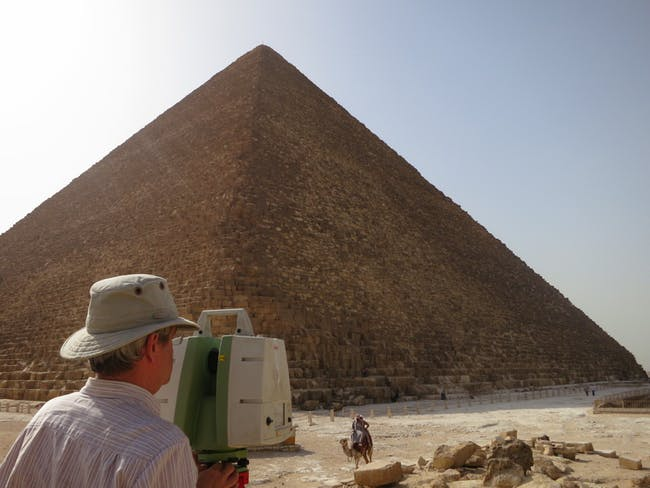 Malcolm Williamson checking the progress of the scans from the Leica C10 scanner at the Great pyramid of Giza. Courtesy of Alex Rowson/Atlantic Productions