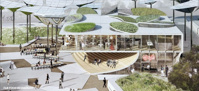 An image from the proposal by Mia Lehrer Associates + OMA. Credit: Mia Lehrer Associates + OMA via City of Los Angeles
