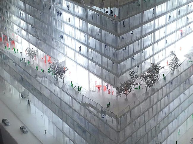 Model of BIG's proposal for Axel Springer HQ in Berlin. Image: BIG