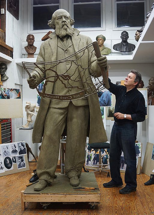 Zenos Frudakis working on the bronze statue of Frederick Law Olmsted, which will be officially unveiled on April 22.