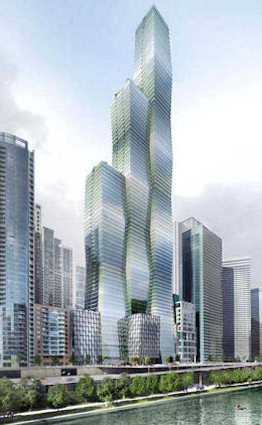 Rendering of the Studio Gang Architects-designed Wanda Vista proposal for downtown Chicago. (Rendering: Studio Gang Architects; Image via chicagotribune.com)