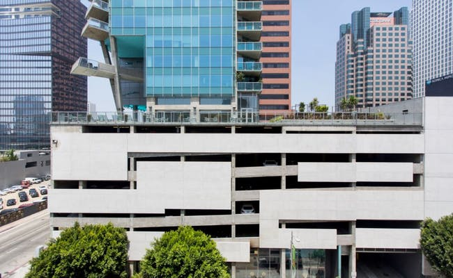 Parking podiums: the fanny packs of downtown L.A. Pictured here is the Watermarke. Image: Hunter Kerhart