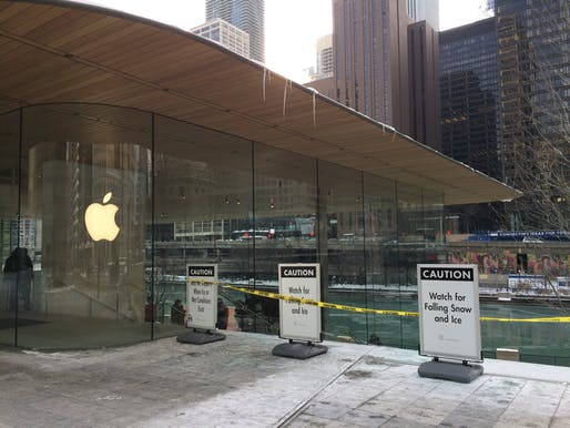 Caution signs around Apple's Chicago flagship store. Photo: Matt Maldre.