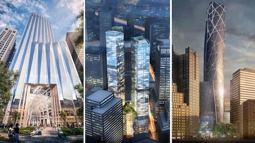 Three of the six finalist bids currently considered to replace the derelict Winthrop Square Garage. (Image via bostonglobe.com)