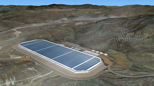 The behemoth solar panel covered Tesla factory. Image: Tesla