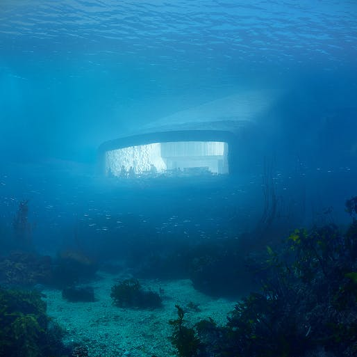 Watching fish while eating them: Snøhetta's underwater restaurant sees itself as part of the marine environment. © MIR and Snøhetta