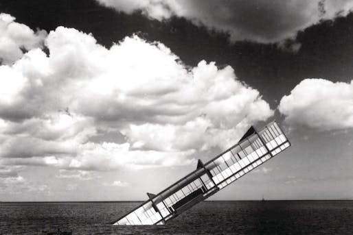 A famous image, The Titanic by Stanley Tigerman depicts Mies van der Rohe's Crown Hall falling into the sea. A critique of the outsized influence of van der Rohe on architectural pedagogy, the image caused significant controversy. Credit: Stanley Tigerman