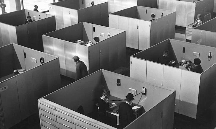 From the exhibition: 'M. Hulot, the protagonist in Jacques Tati's 1967 film Playtime, is continually frustrated by the endless repetition of office cubicles. The drive towards flexibility in both office operations and International Style architecture increasingly produces a bland, featureless and...