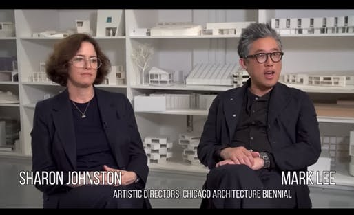 """Having an architectural biennial in Chicago is like having a classical music conference in Vienna,"" notes Mark Lee of Johnston Marklee in this video. Image: Screenshot"