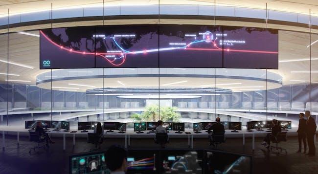 Inside the Burj Khalifa's Hyperloop One portal, screenshot via Squint Opera's video for BIG.