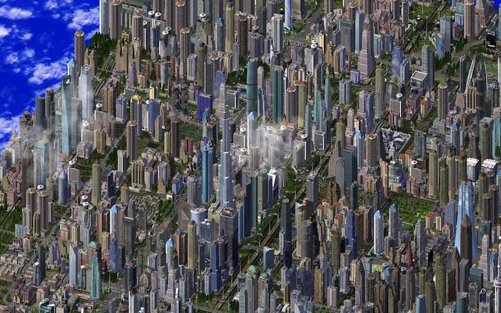 Sim City 4 zoom out, via flickr/Haljackey.