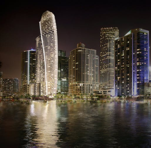Rendering of the Aston Martin Residences in downtown Miami. Image via Aston Martin PR/Twitter.